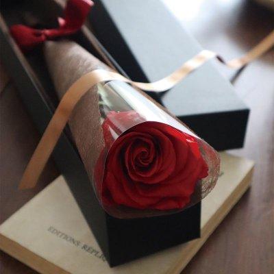 画像3: プリザーブドフラワー | BOX入り シンプルなバラの花(葉も茎もプリザービング加工)