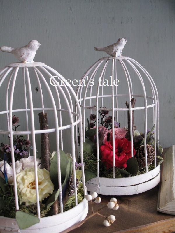 画像1: プリザーブドフラワー | 【鳥かごのアレンジ】Bird Cage (1)